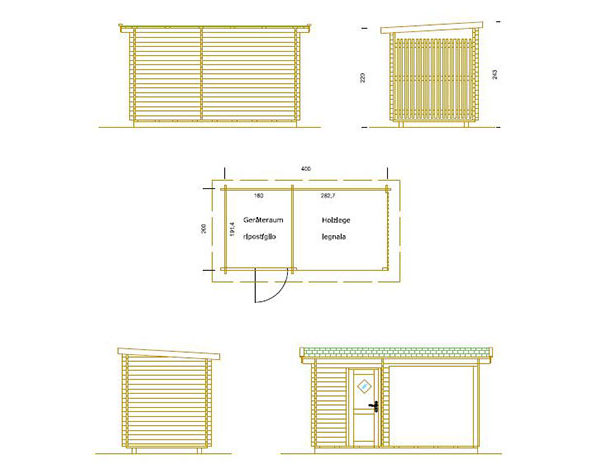 Gerätehaus mit Holzlege